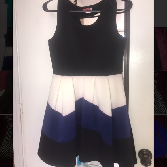 Ruby Rox Dresses & Skirts - Ruby Rox Black, White, & Blue Fit & Flare Dress